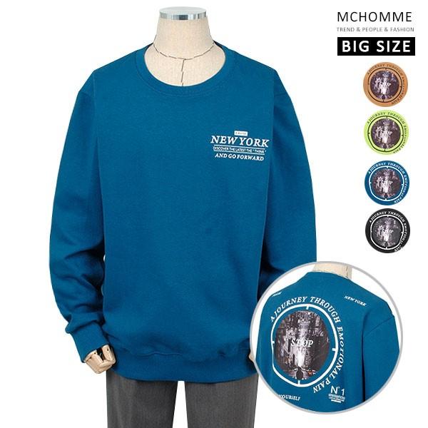 엠씨옴므 빅사이즈(~4XL) 프랙티컬 오버핏 라운드넥 맨투맨 티셔츠 BT19S106_BL
