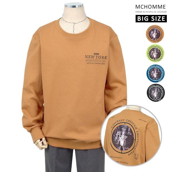 엠씨옴므 빅사이즈(~4XL) 프랙티컬 오버핏 라운드넥 맨투맨 티셔츠 BT19S106_BE