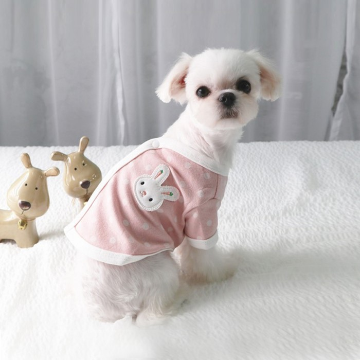 중대형견 강아지 신축성좋은 겨울실내복 핑크 XL - d