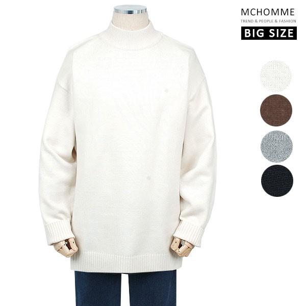 엠씨옴므 빅사이즈(~4XL) 댄디 남친룩 민무늬 반폴라 스웨터 니트 SH19S126_IV