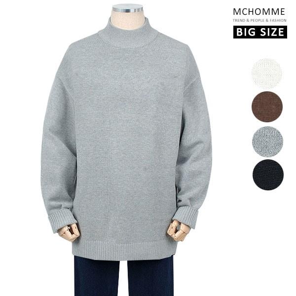 엠씨옴므 빅사이즈(~4XL) 댄디 남친룩 민무늬 반폴라 스웨터 니트 SH19S126_G