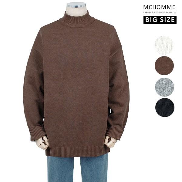 엠씨옴므 빅사이즈(~4XL) 댄디 남친룩 민무늬 반폴라 스웨터 니트 SH19S126_BW