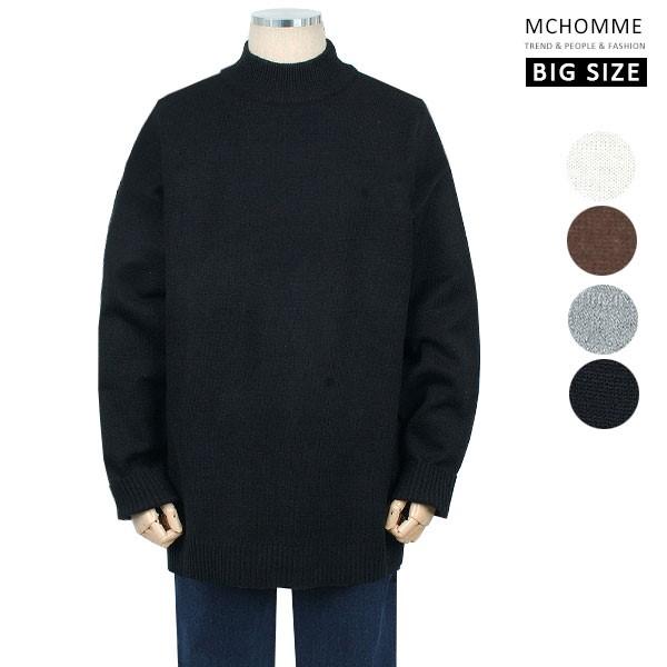 엠씨옴므 빅사이즈(~4XL) 댄디 남친룩 민무늬 반폴라 스웨터 니트 SH19S126_B
