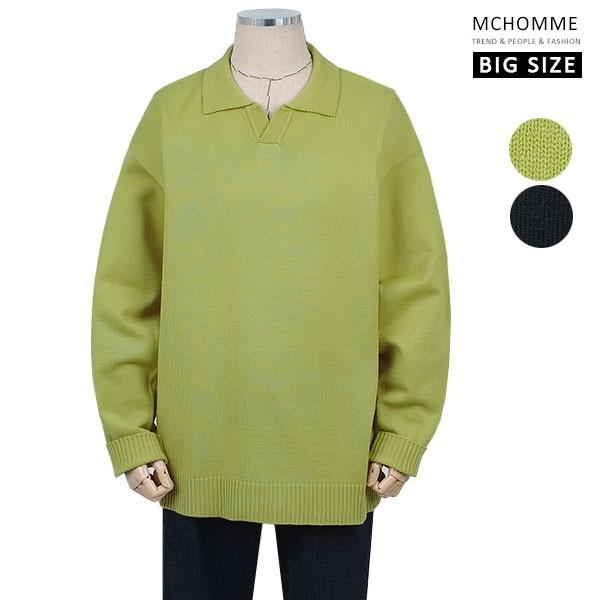 엠씨옴므 빅사이즈(~4XL)포멀스타일 민무늬 오픈카라 니트 티셔츠 SH19S125_GN