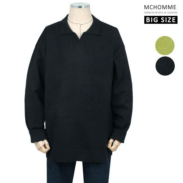 엠씨옴므 빅사이즈(~4XL) 포멀스타일 민무늬 오픈카라 니트 티셔츠 SH19S125_B