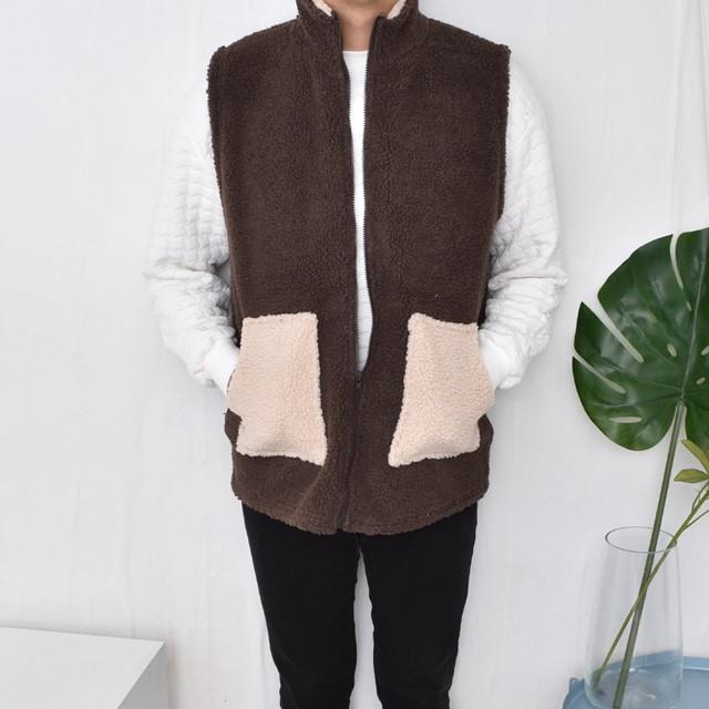 [텐샵] BN9304 하이넥 양털 포켓배색 조끼