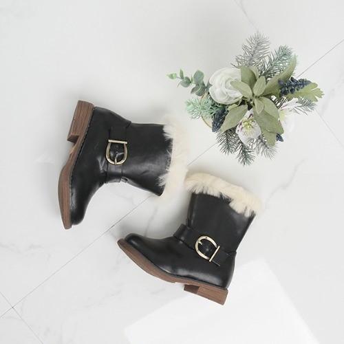 [한나] 오소미 퍼트리밍 여아부츠 겨울 주니어신발