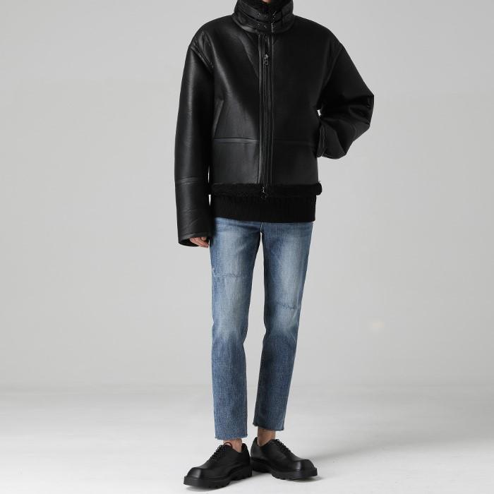 [티아그]  헤비 레더 시어링 자켓
