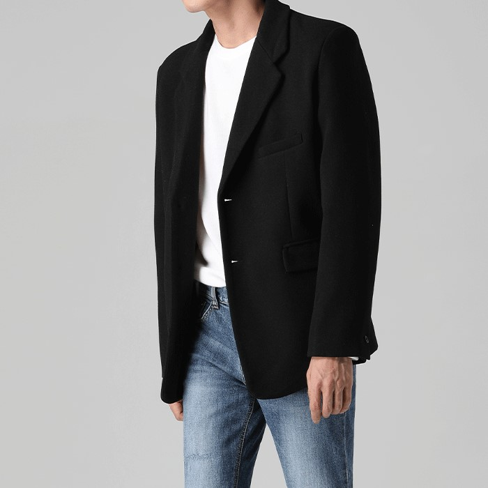 [티아그] 미니멀 울 싱글 자켓 (2col)