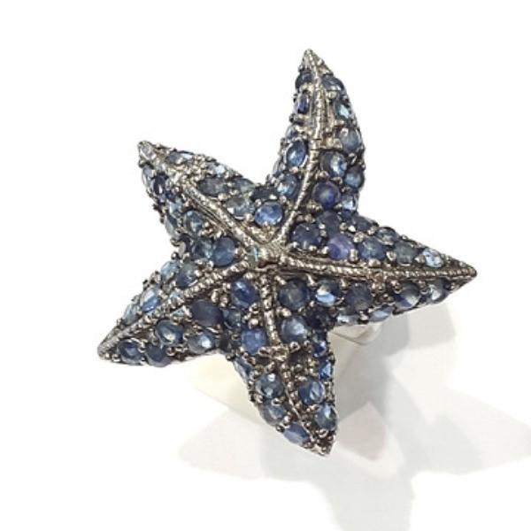 [블루케이] 사파이어 원석 반지 n191117-01러프엔틱