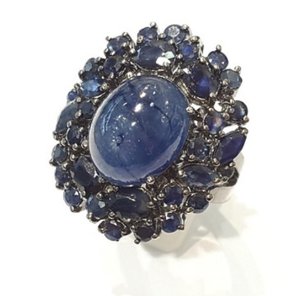 [블루케이] 사파이어 원석 반지 n191117-03러프엔틱