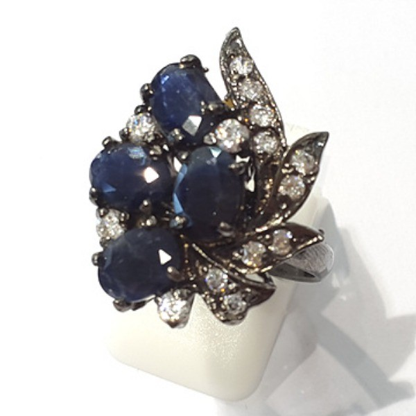 [블루케이] 사파이어 원석 반지 n191117-07러프엔틱