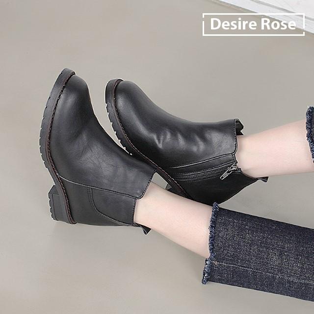 [디자이어로즈] 여성 겨울안감 가죽 앵클부츠 3cm WS4324