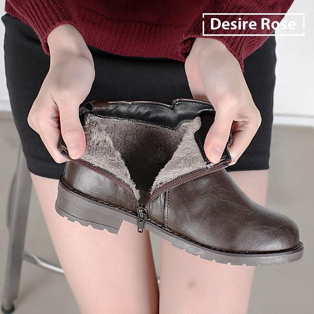 [디자이어로즈] 30대 40대 여성 겨울 털 앵클부츠  3cm WS4324