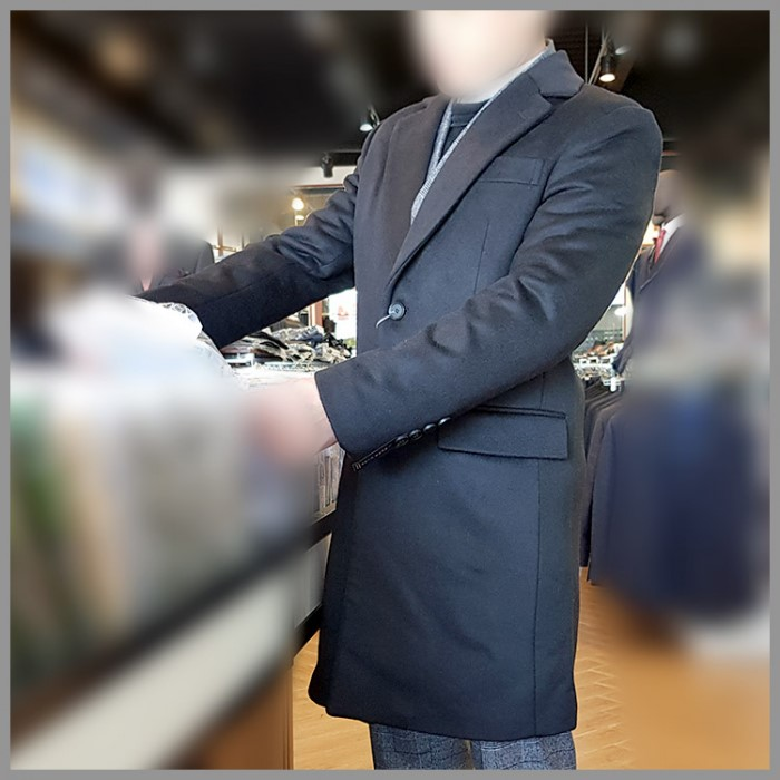 [젠틀안트] 블랙 베이직 울 싱글코트 GR-C2061