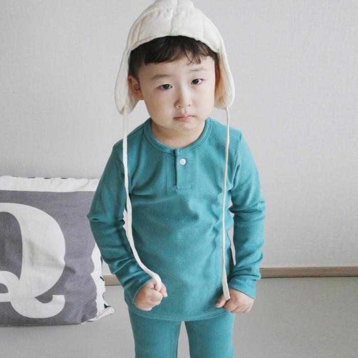 [리본크림] 유아동 겨울 도톰해 기모 실내복 세트 4color