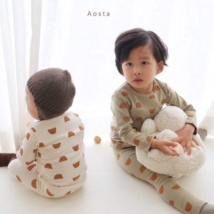 [리본크림] 유아동 겨울내복 곰돌이 실내복 세트 2color