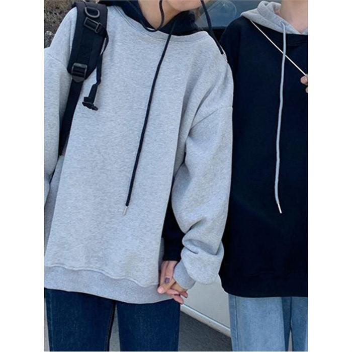 [일루아] 누비 양기모 배색 후드티셔츠(그레이/블랙)