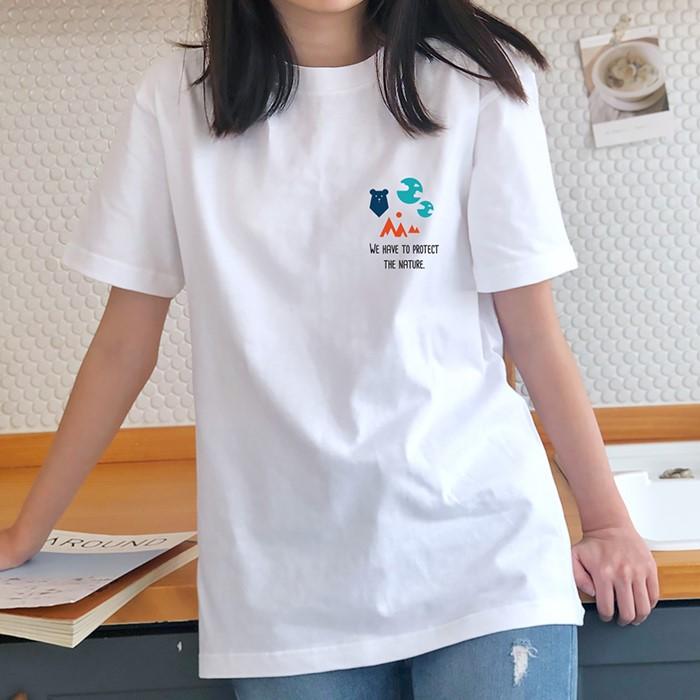 [험블스튜디오] 심플 아이콘 로고 여성 루즈핏 데일리 반팔티셔츠 화이트