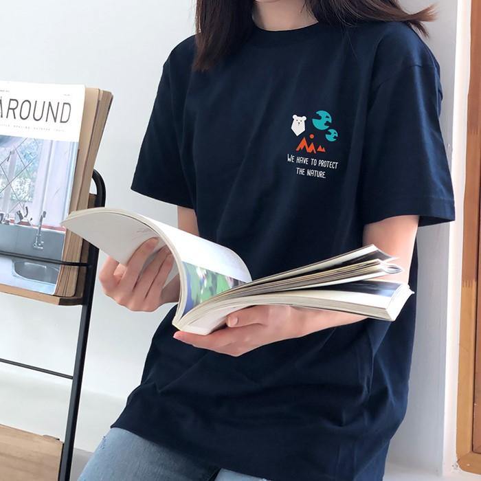 [험블스튜디오] 심플 아이콘 로고 코튼 라운드넥 여성 루즈핏 반팔티셔츠