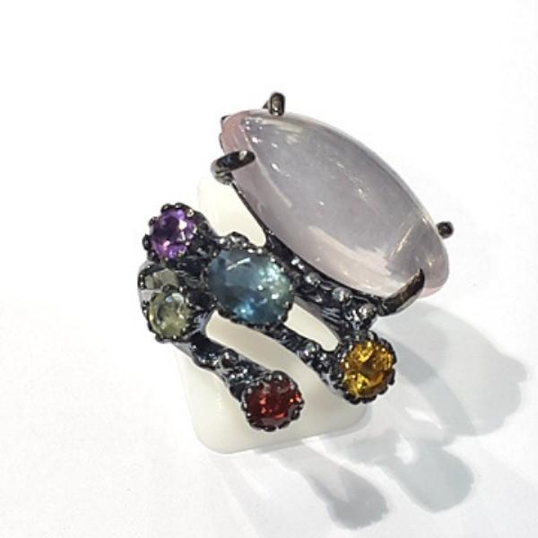 [블루케이] 장미석 사파이어 믹스 원석 반지 n191120-07디자이너