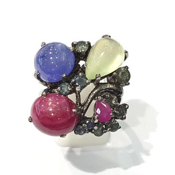 [블루케이] 탄자나이트 루비 칼세도니 원석 반지 n191120-12