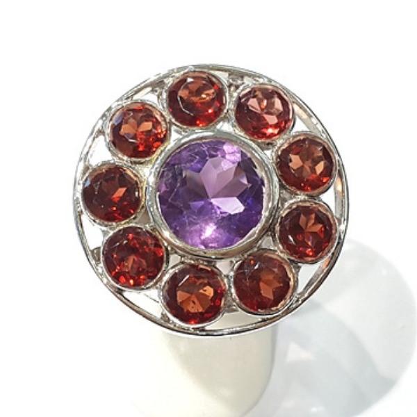 [블루케이] 자수정 가넷 원석 반지 n191120-17