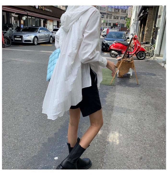 [JIERR] 플리츠 셔츠 후드 ( 화이트 / 다크네이비 ) 프리사이즈
