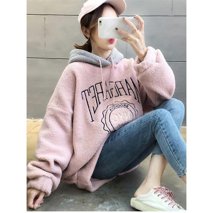 [일루아] 마들렌 덤블 배색 기모 후드티셔츠(핑크/블루)