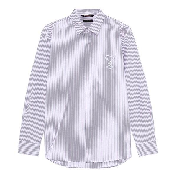 지이크.F NC05 오버핏 스트라이프 퍼플 셔츠 FYB5451