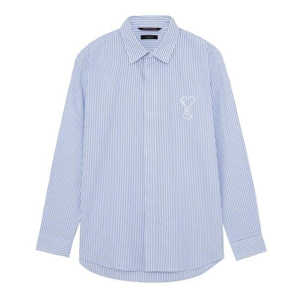 지이크.F NC05 오버핏 스트라이프 블루 셔츠 FYB5450