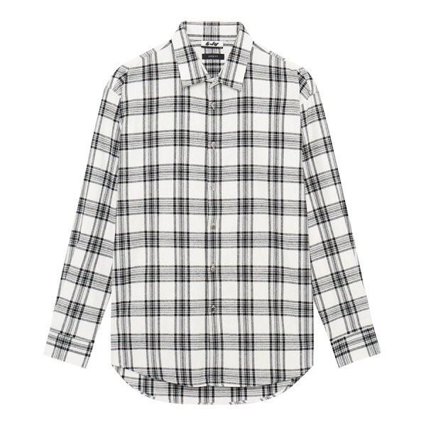 지이크.F NC05 오버핏 화이트 체크 코튼 셔츠 FYB5456