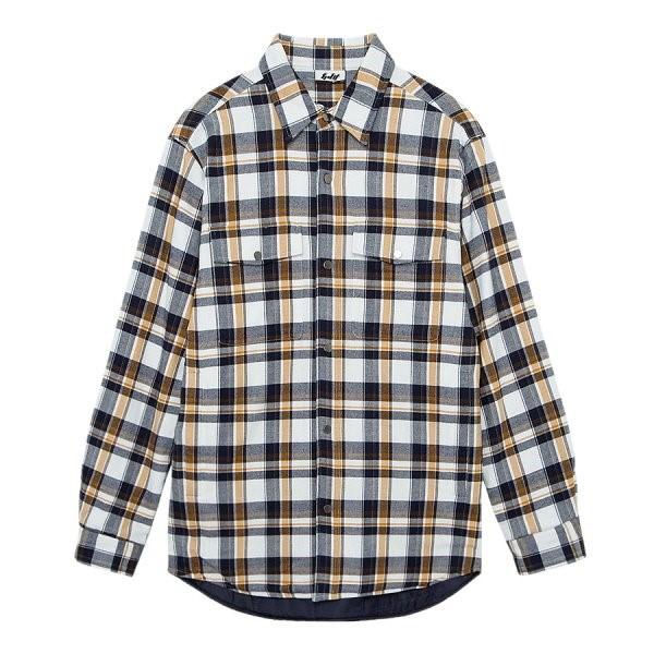 지이크.F NC05 코튼 투 포켓 카라 체크 셔츠 FYB5401