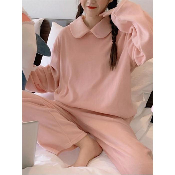 [일루아] 쁘띠마망 카라 수면 파자마 잠옷세트(아이보리/핑크)