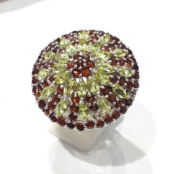 [블루케이] 가넷 페리도트 원석 반지 n191201-01