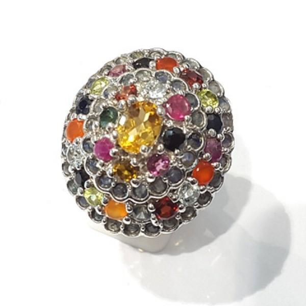 [블루케이] 시트린 루비 믹스 원석 반지 n191201-02_원석믹스