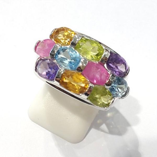 [블루케이] 시트린 루비 믹스 원석 반지 n191201-03_원석믹스