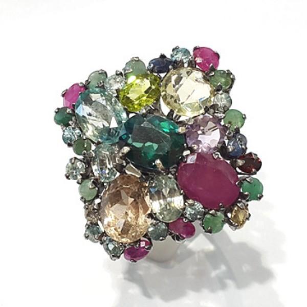[블루케이] 그린토파즈 루비 믹스 원석 반지 n191201-06