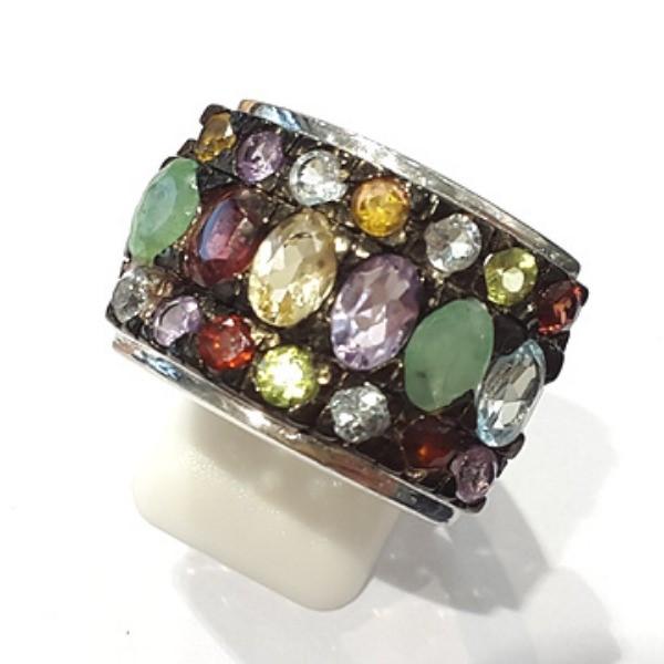 [블루케이] 에메랄드 자수정 시트린 믹스 원석 반지 n191201-09