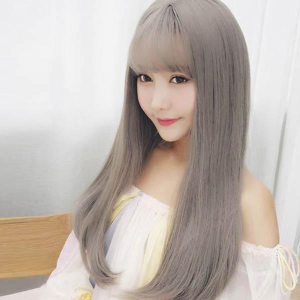 [마물샵] 여자 패션 애쉬컬러 통가발 패션가발 생머리가발 긴머리가발 (망포함)