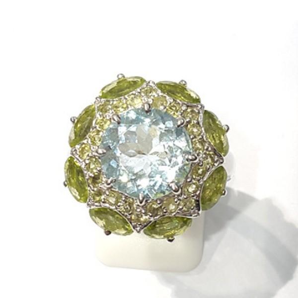 [블루케이] 블루토파즈 페리도트 시트린 원석 반지 n191202-19
