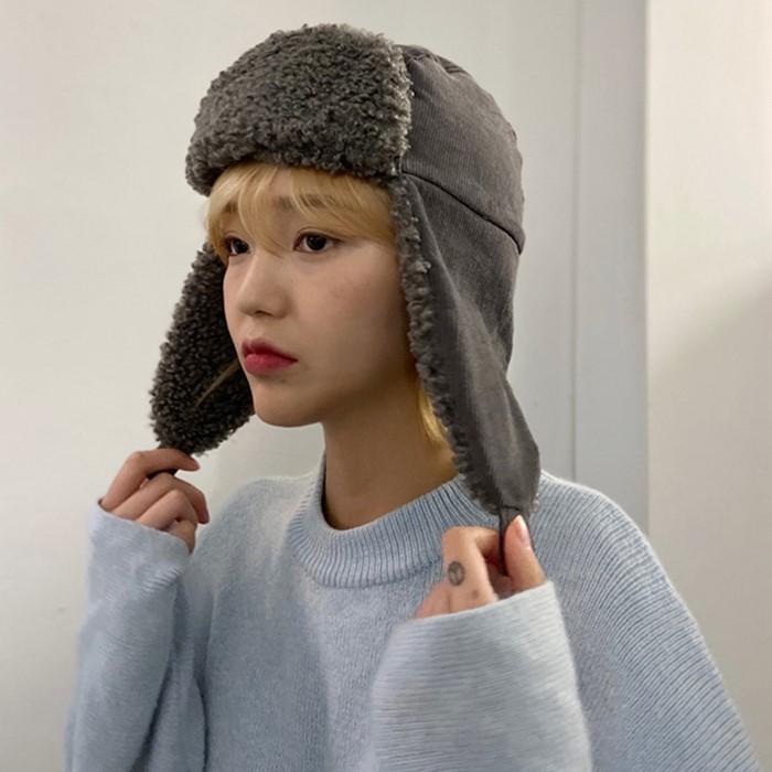 [the robs.] 코듀로이 귀도리 군밤 양털 방한 모자 4color