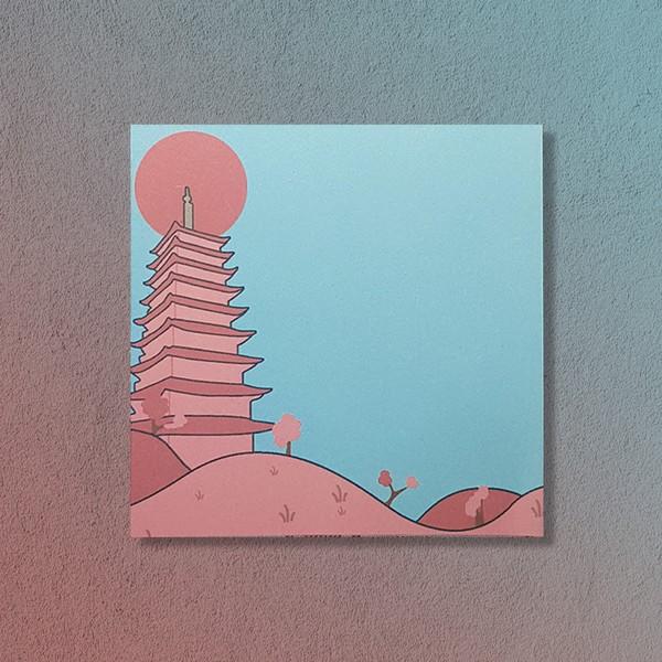 굿즈 경주 벚꽃 풍경 황룡사 떡메모지 메모지 디자인 일러스트 문구 추천