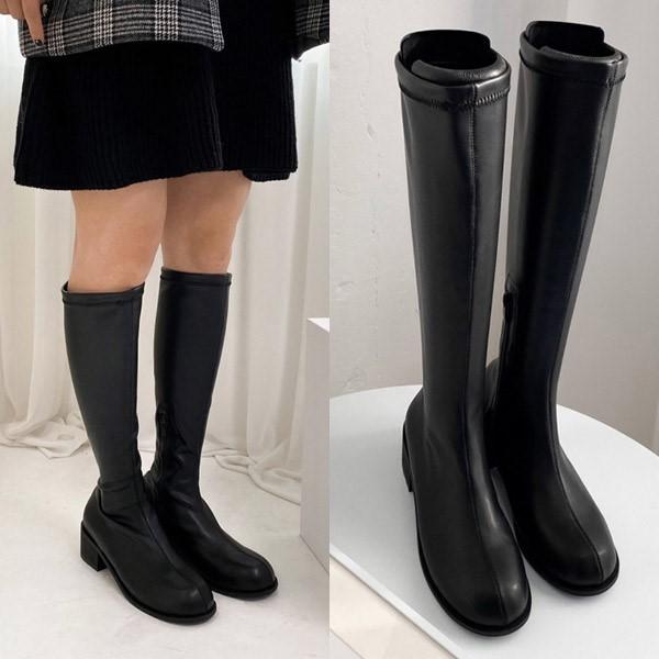 [애슬릿] 발 편한 둥근코 여성 스판 롱 부츠 4cm