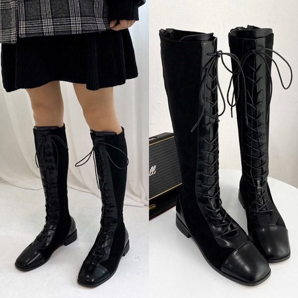 [애슬릿] 스퀘어 레이스업 여성 워커 롱 부츠 3cm