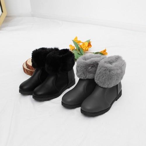 [한나] 브와 퍼장식 모던 여아앵클부츠 아동겨울신발