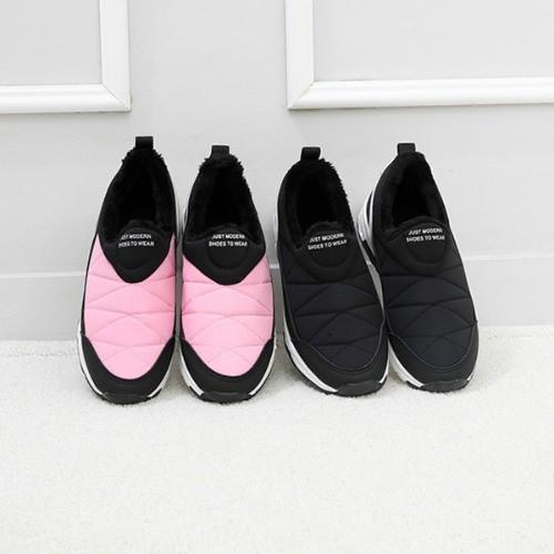 [한나] 미카 안감털 누빔 어린이슬립온 초등겨울신발