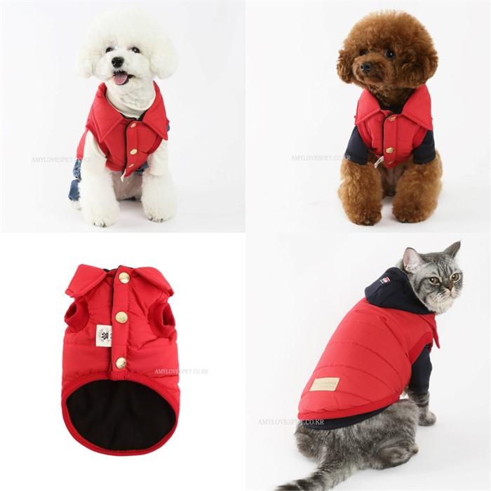 [댕댕이의 플렉스] 강아지 고양이 레드 패딩 조끼 겨울옷