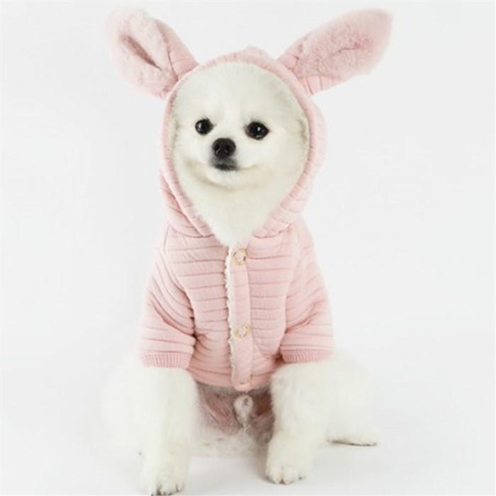 [댕댕이의 플렉스] 강아지 후드 바니점퍼 핑크 강아지옷