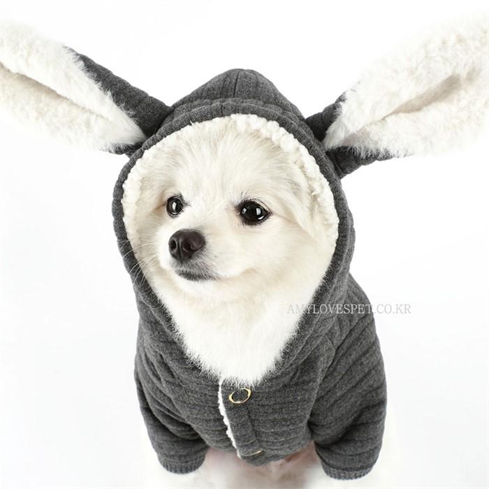 [댕댕이의 플렉스] 강아지 후드 바니점퍼 그레이